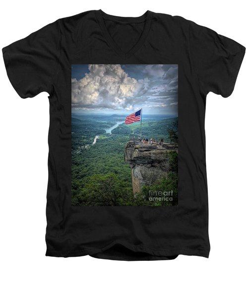 Old Glory On The Rock Men's V-Neck T-Shirt