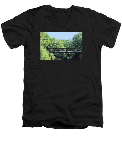 Men's V-Neck T-Shirt featuring the photograph Old Iron Bridge Over Caddo Creek by Sheila Brown