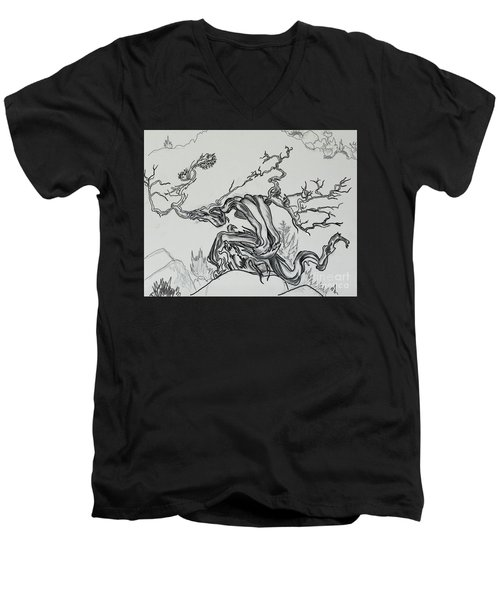 Old Juniper Dancing With The Wind -- Field Sketch Men's V-Neck T-Shirt by Dawn Senior-Trask
