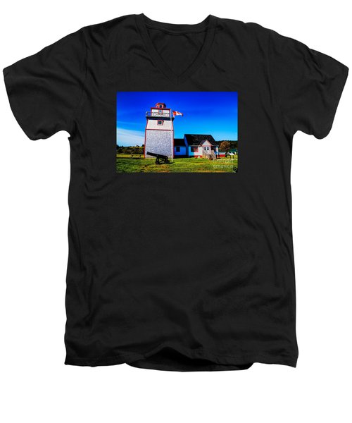 Old Lighthouse Men's V-Neck T-Shirt by Rick Bragan