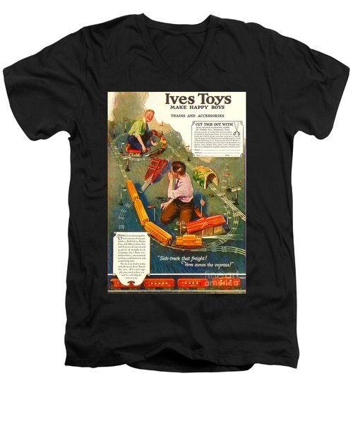 Old Litho Print Toy Train Advertisement Men's V-Neck T-Shirt