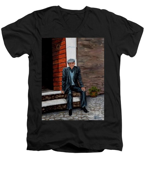 Men's V-Neck T-Shirt featuring the painting Old Man Waiting by Judy Kirouac