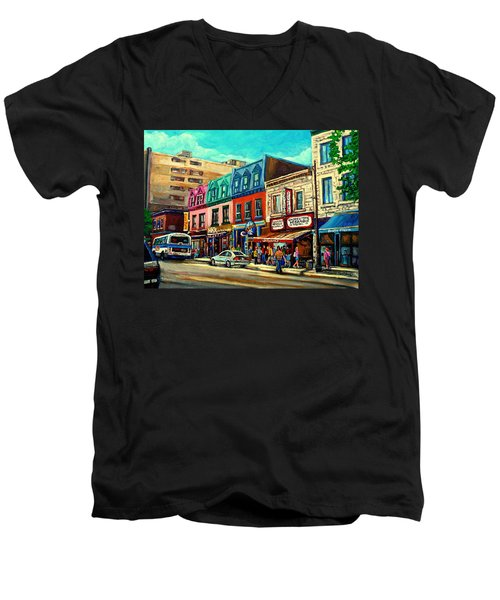 Old Montreal Schwartzs Deli Plateau Montreal City Scenes Men's V-Neck T-Shirt
