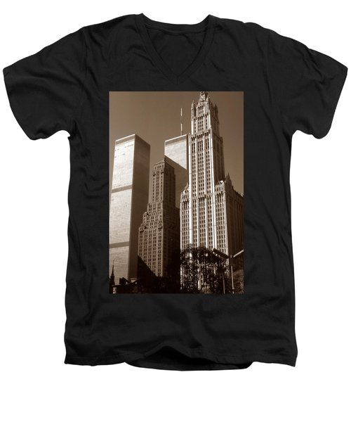 Old New York Photo - Woolworth Building And World Trade Center Men's V-Neck T-Shirt