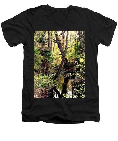 Old Oak Men's V-Neck T-Shirt by Henryk Gorecki