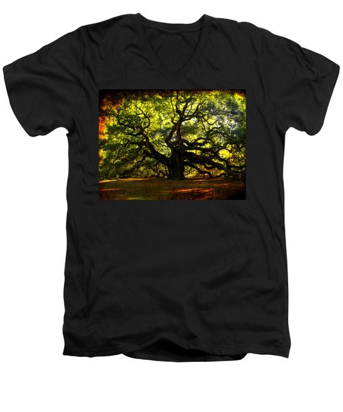 Old Old Angel Oak In Charleston Men's V-Neck T-Shirt