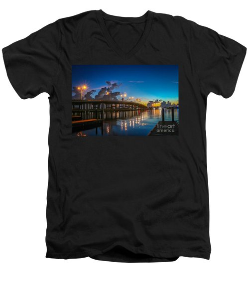 Old Palm City Bridge Men's V-Neck T-Shirt by Tom Claud