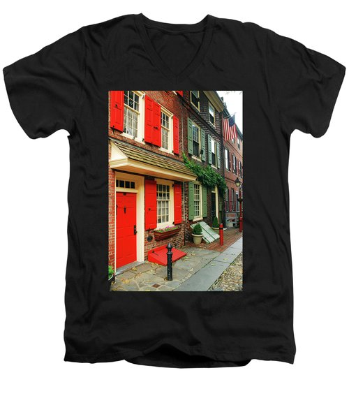 Old Philly Men's V-Neck T-Shirt by James Kirkikis