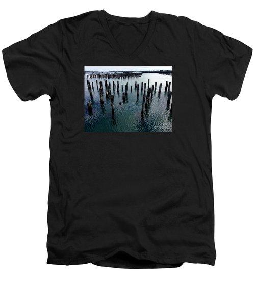 Old Pilings, Casco Bay Portland Trails Men's V-Neck T-Shirt by Patricia E Sundik