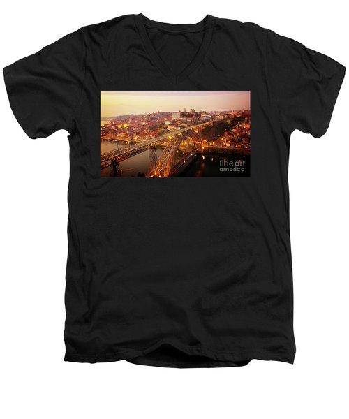 old Porto at  Pink Sunset, Portugal Men's V-Neck T-Shirt
