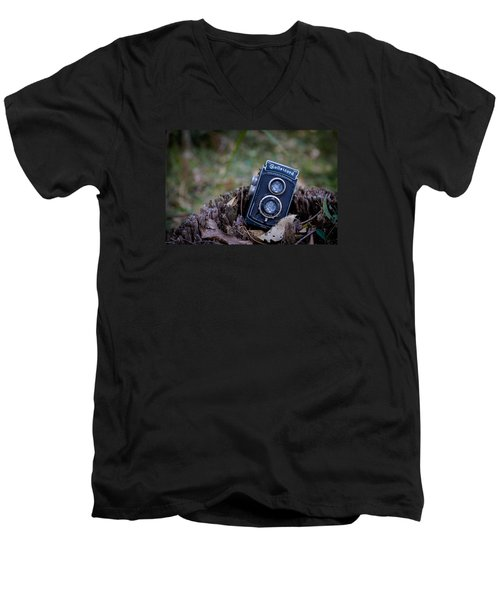 Men's V-Neck T-Shirt featuring the photograph Old Rollei by Keith Hawley