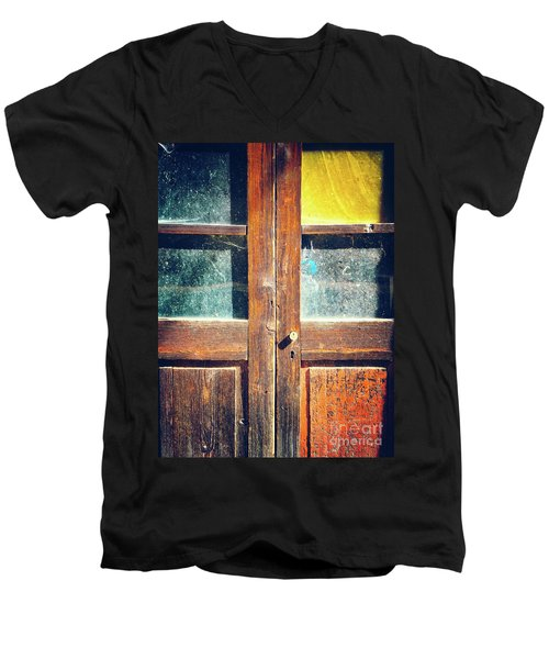 Men's V-Neck T-Shirt featuring the photograph Old Rotten Door by Silvia Ganora