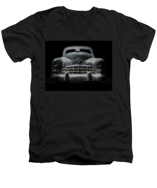Old Silver Cadillac Toy Car With Specks Of Red Paint Men's V-Neck T-Shirt
