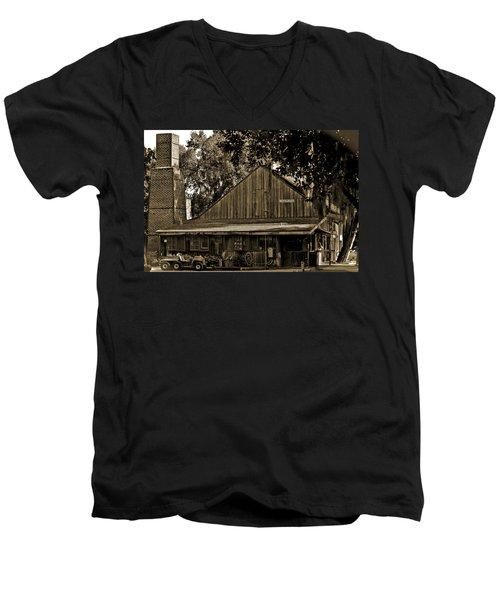 Men's V-Neck T-Shirt featuring the photograph Old Spanish Sugar Mill Sepia by DigiArt Diaries by Vicky B Fuller