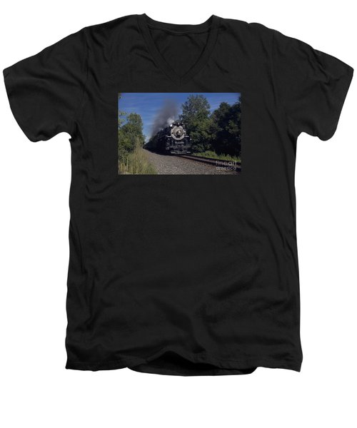 Men's V-Neck T-Shirt featuring the photograph Old Steamer 765 by Jim Lepard