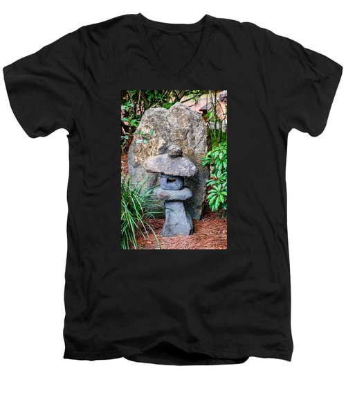 Old Stone Lantern Men's V-Neck T-Shirt by Louis Ferreira