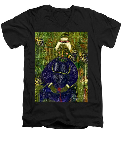 Men's V-Neck T-Shirt featuring the digital art Old Storyteller by Alexis Rotella