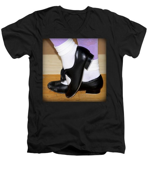 Old Tap Dance Shoes With White Socks And Wooden Floor Men's V-Neck T-Shirt by Pedro Cardona