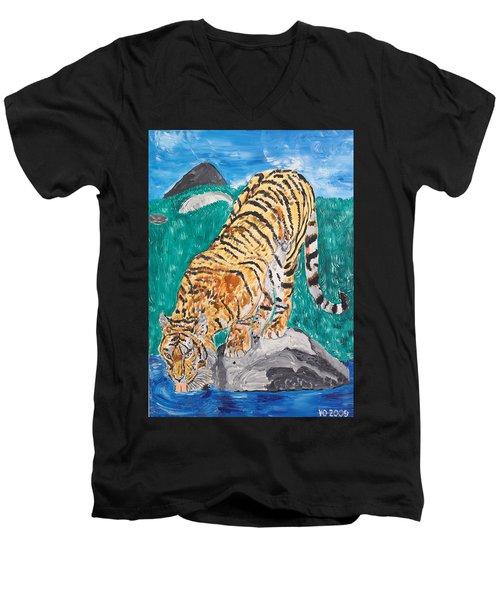 Old Tiger Drinking Men's V-Neck T-Shirt by Valerie Ornstein