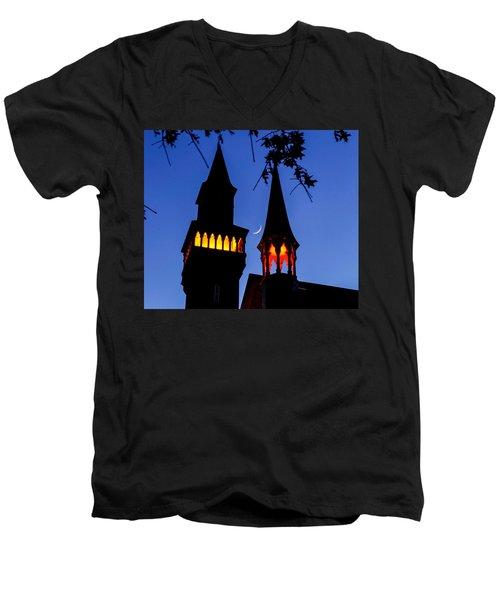 Old Town Hall Crescent Moon Men's V-Neck T-Shirt