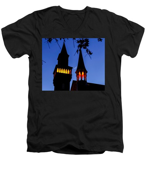 Old Town Hall Crescent Moon Men's V-Neck T-Shirt