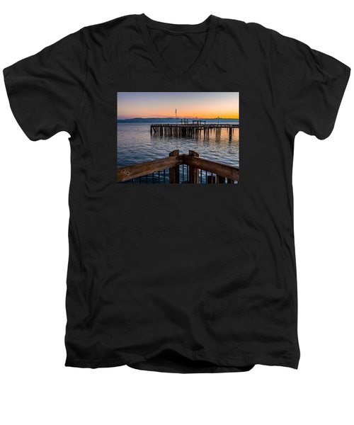 Old Town Pier During Sunrise On Commencement Bay Men's V-Neck T-Shirt by Rob Green