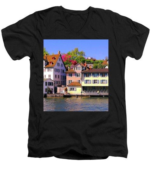 Old Town Zurich, Switzerland Men's V-Neck T-Shirt
