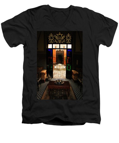 Old Traditional Riad In Fez Men's V-Neck T-Shirt by Ralph A  Ledergerber-Photography