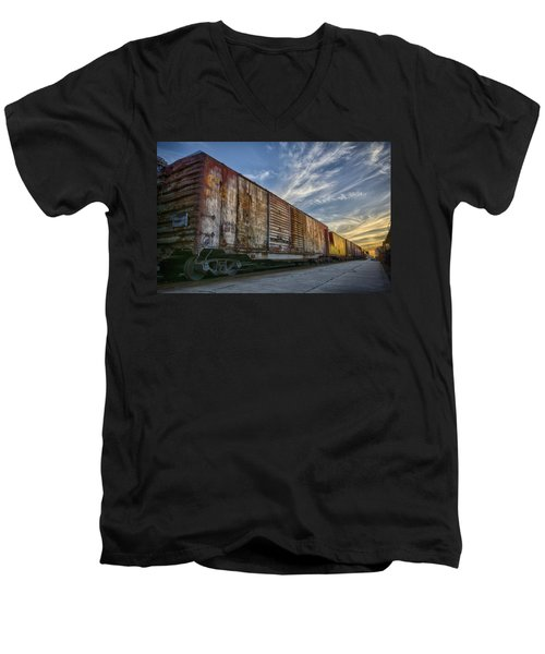 Men's V-Neck T-Shirt featuring the tapestry - textile Old Train - Galveston, Tx by Kathy Adams Clark