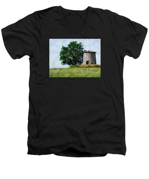 Men's V-Neck T-Shirt featuring the photograph Old Windmill by Jean Bernard Roussilhe