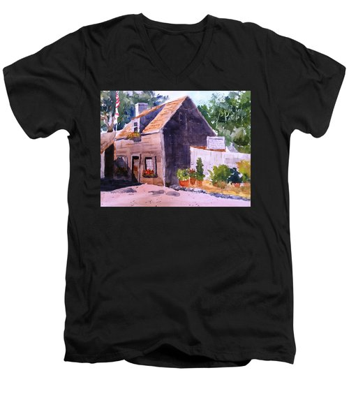 Old Wooden School House Men's V-Neck T-Shirt by Larry Hamilton