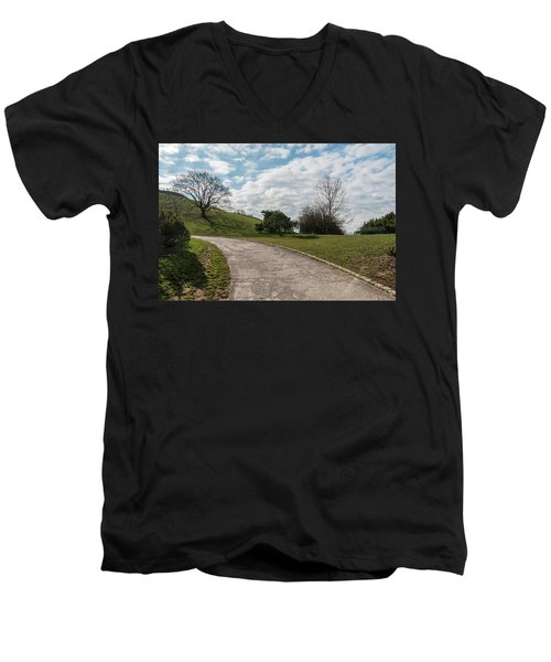Men's V-Neck T-Shirt featuring the photograph Olimpia Park. Munich by Sergey Simanovsky