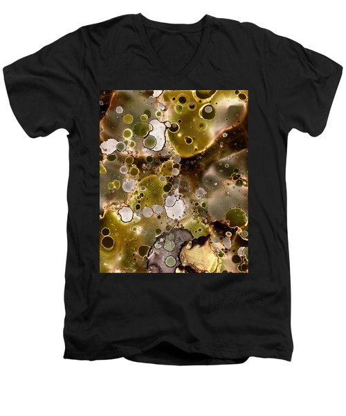 Men's V-Neck T-Shirt featuring the painting Olive Metal Abstract by Patricia Lintner
