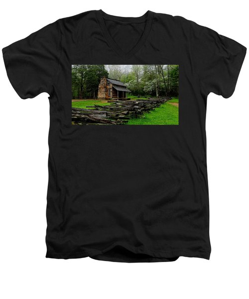 Oliver's Cabin Among The Dogwood Of The Great Smoky Mountains National Park Men's V-Neck T-Shirt