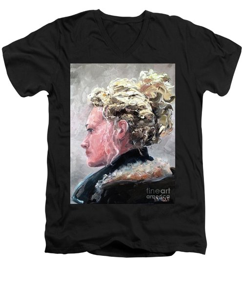 Men's V-Neck T-Shirt featuring the painting Olivia 2 by Diane Daigle