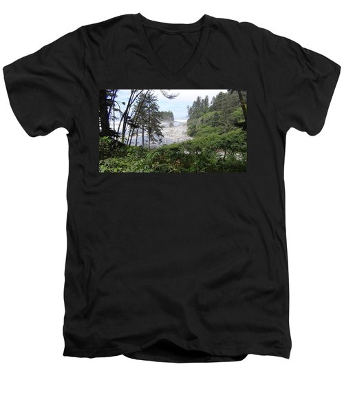 Men's V-Neck T-Shirt featuring the photograph Olympic National Park Beach by Tony Mathews