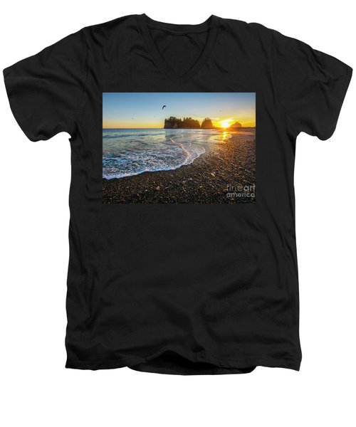 Men's V-Neck T-Shirt featuring the photograph Olympic Peninsula Sunset by Martin Konopacki