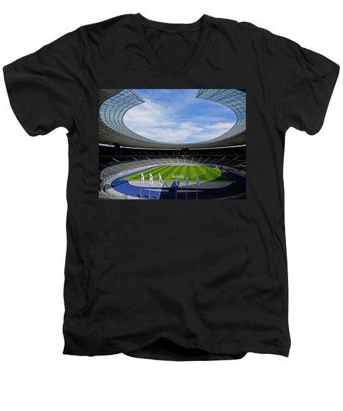 Olympic Stadium Berlin Men's V-Neck T-Shirt by Juergen Weiss
