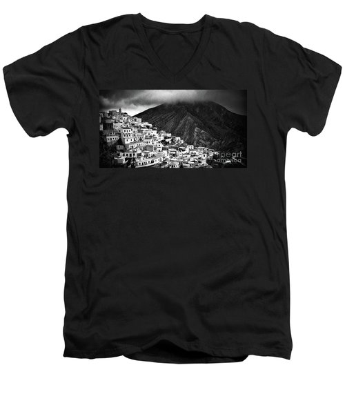 Olympos. Karpathos Island Greece Men's V-Neck T-Shirt by Silvia Ganora