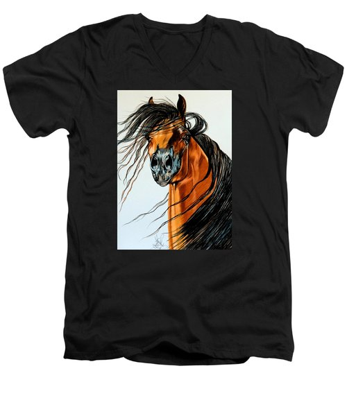 On A Windy Day-dream Horse Series #2003 Men's V-Neck T-Shirt by Cheryl Poland