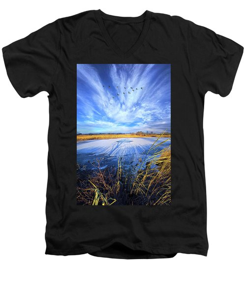 Men's V-Neck T-Shirt featuring the photograph On Frozen Pond by Phil Koch