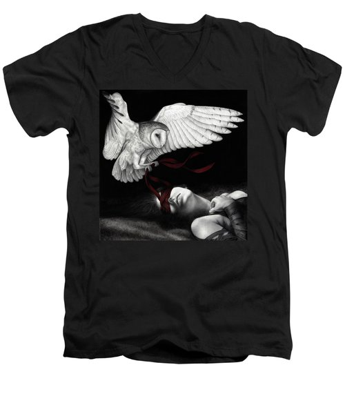 Men's V-Neck T-Shirt featuring the painting On Silent Wings by Pat Erickson