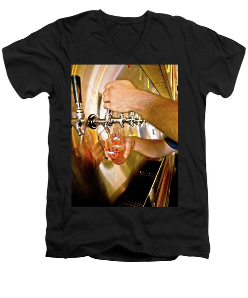 Men's V-Neck T-Shirt featuring the photograph On Tap by Linda Unger