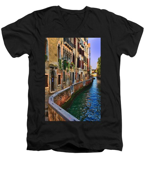 On The Canal-venice Men's V-Neck T-Shirt by Tom Prendergast