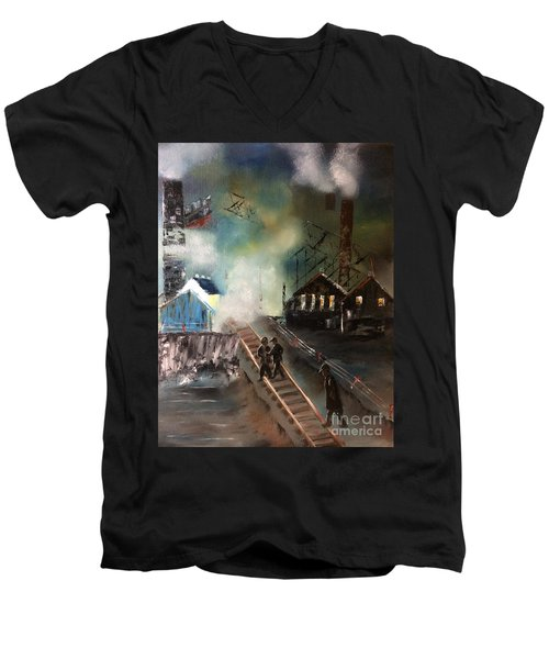 Men's V-Neck T-Shirt featuring the painting On The Pennsylvania Tracks by Denise Tomasura