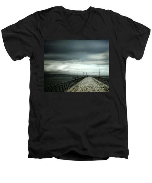 Men's V-Neck T-Shirt featuring the photograph On The Pier by Perry Webster