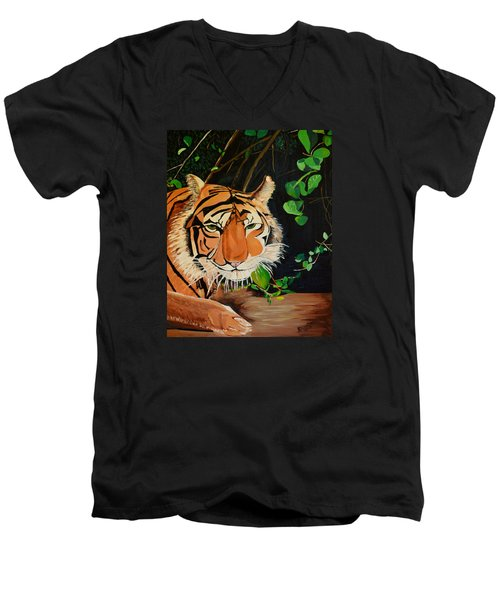 On The Prowl Men's V-Neck T-Shirt by Donna Blossom