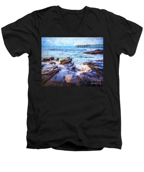 Men's V-Neck T-Shirt featuring the photograph On The Rocks by Perry Webster
