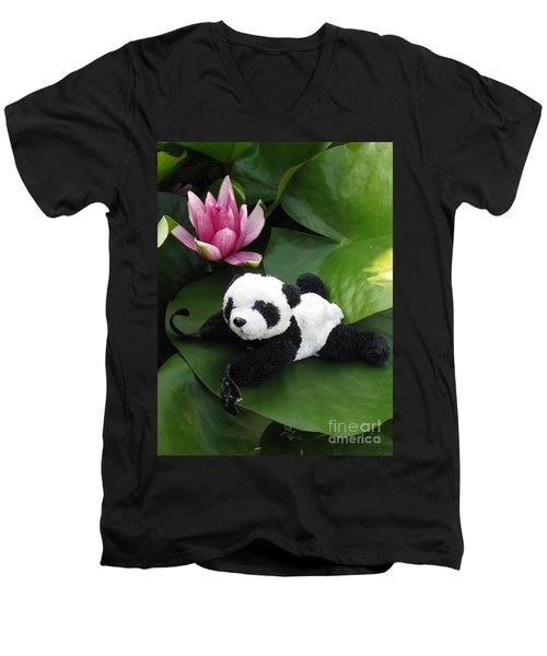 Men's V-Neck T-Shirt featuring the photograph On The Waterlily by Ausra Huntington nee Paulauskaite