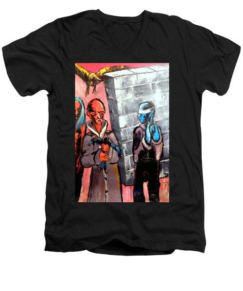 One Bird In Flight - One Bird In Hand Men's V-Neck T-Shirt by Kenneth Agnello